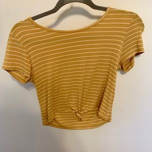Tillys striped yellow tie shirt cropped